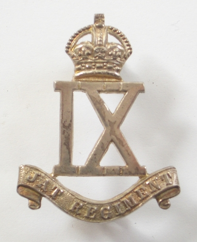 9th Jat Regiment 1923 HM silver cap badge