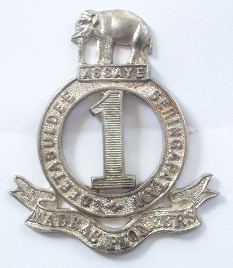 1st Madras Pioneers 1926 HM silver cap badge