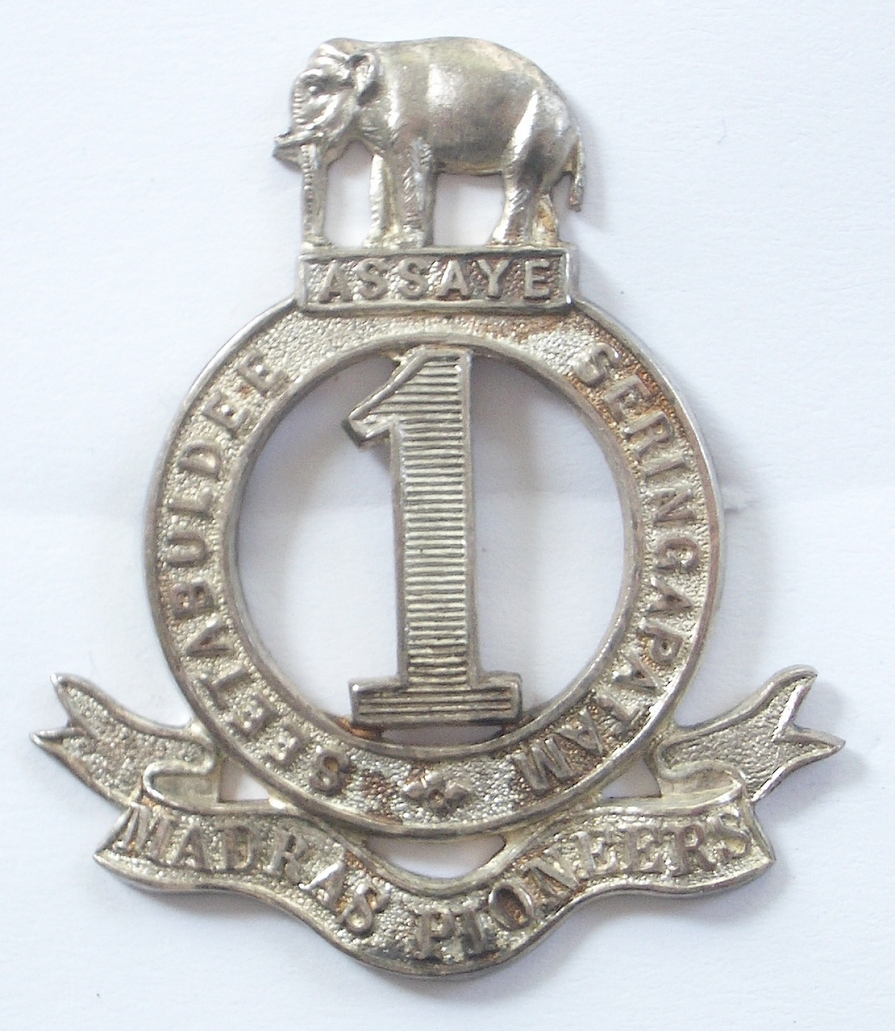 1st Madras Pioneers 1926 HM silver cap badge