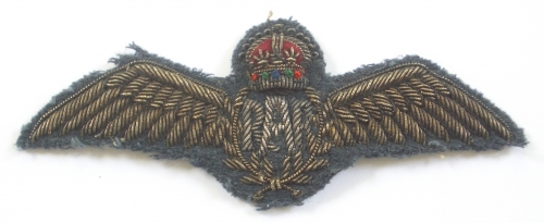 RAF gold wire embroidered pilot's wing