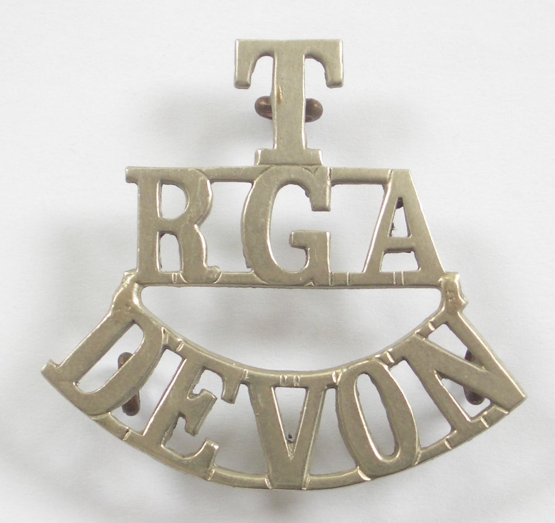 T / RGA / DEVON white metal shoulder title