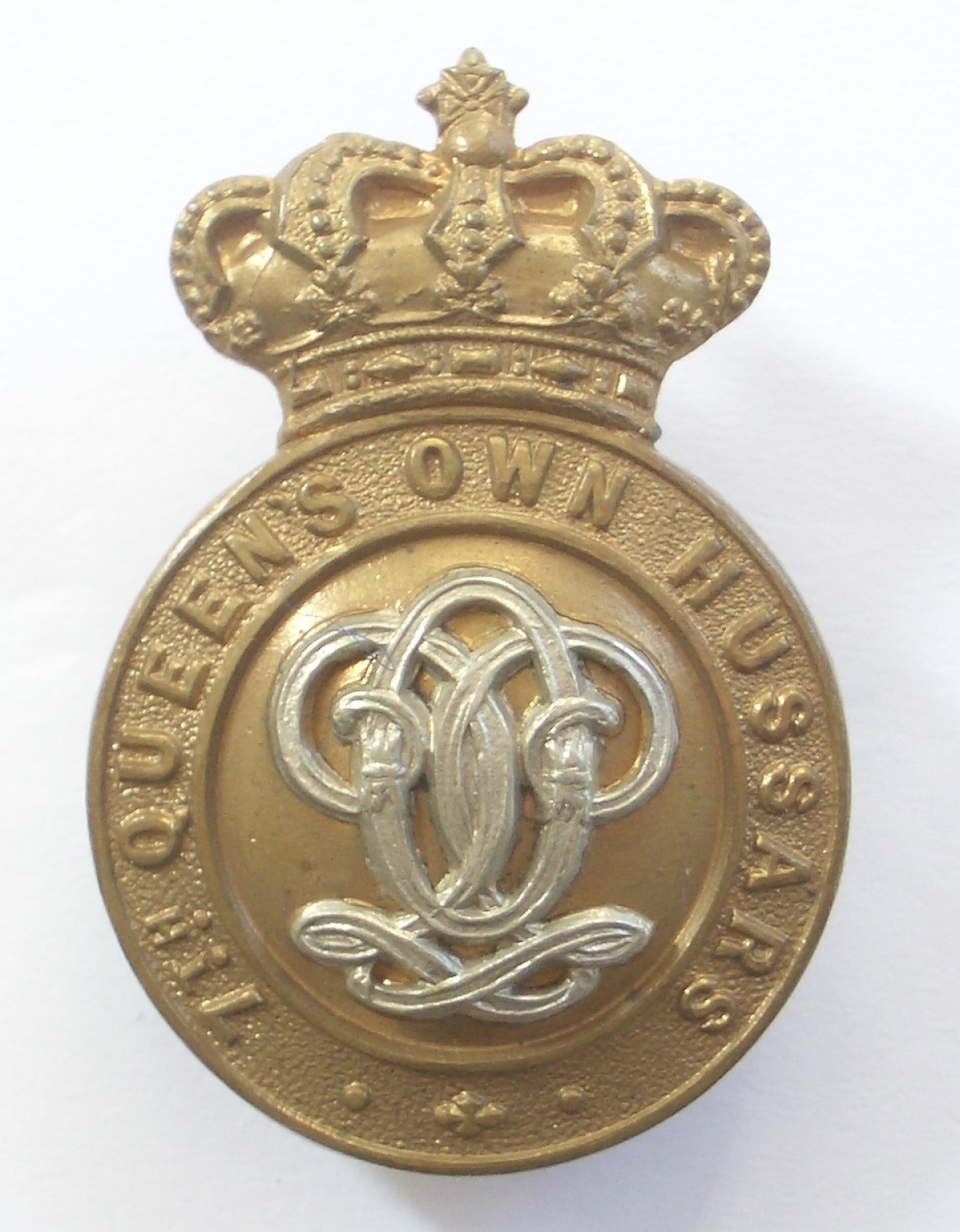 7th QO Hussars Victorian cap badge