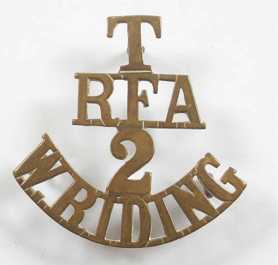 T / RFA / 2 / W. RIDING brass shoulder title