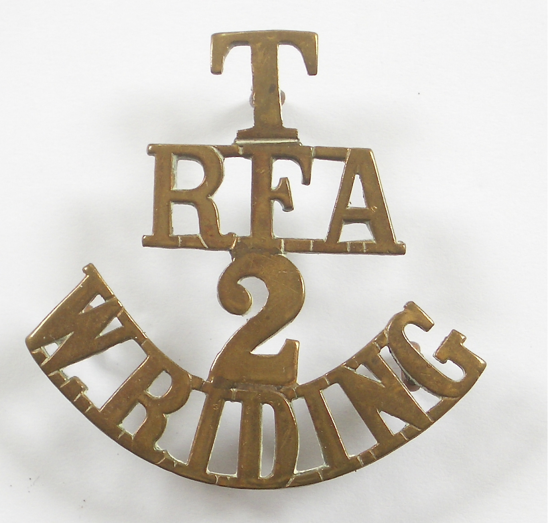 T / RFA / 2 / W. RIDING brass shoulder title