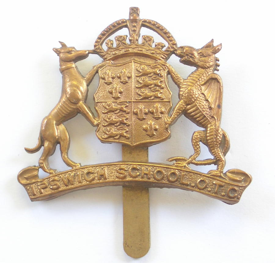 Ipswich School OTC brass Suffolk cap badge