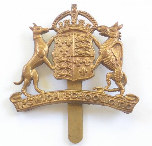 Ipswich School OTC brass Suffolk cap badge