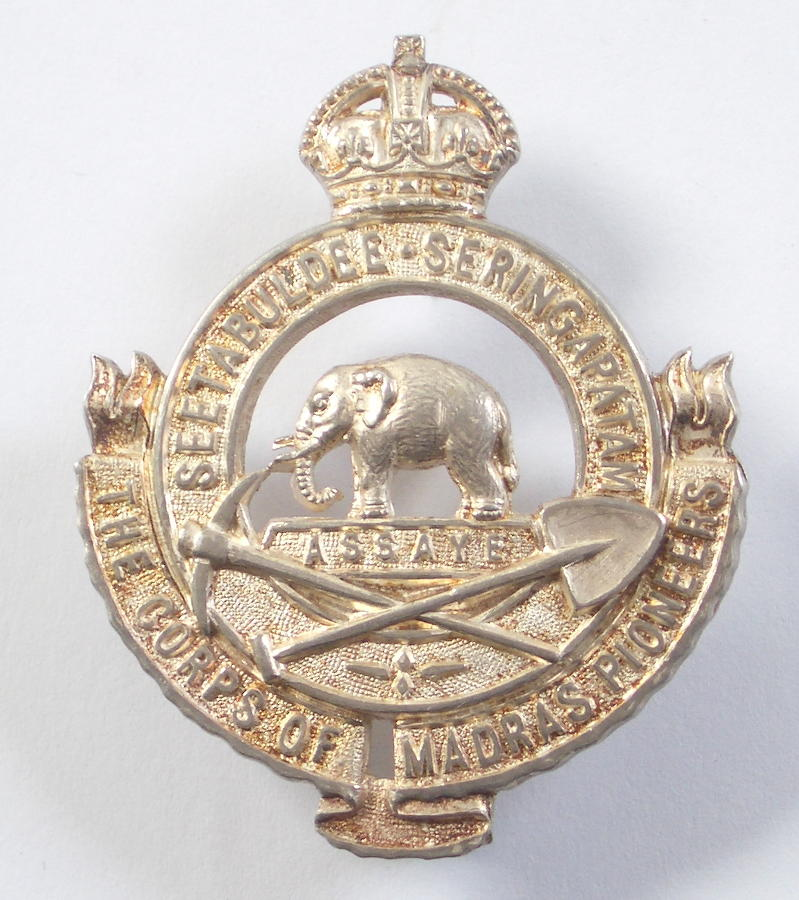 Corps of Madras Pioneers 1931 hallmarked silver cap badge