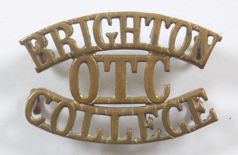 BRIGHTON / OTC / COLLEGE brass shoulder title