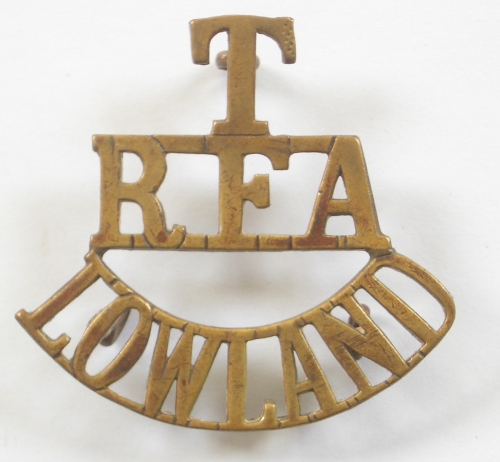 T/RFA/LOWLAND brass shoulder title