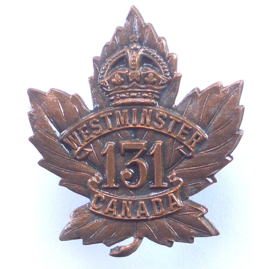 131st (Westminster) WW1 CEF cap badge