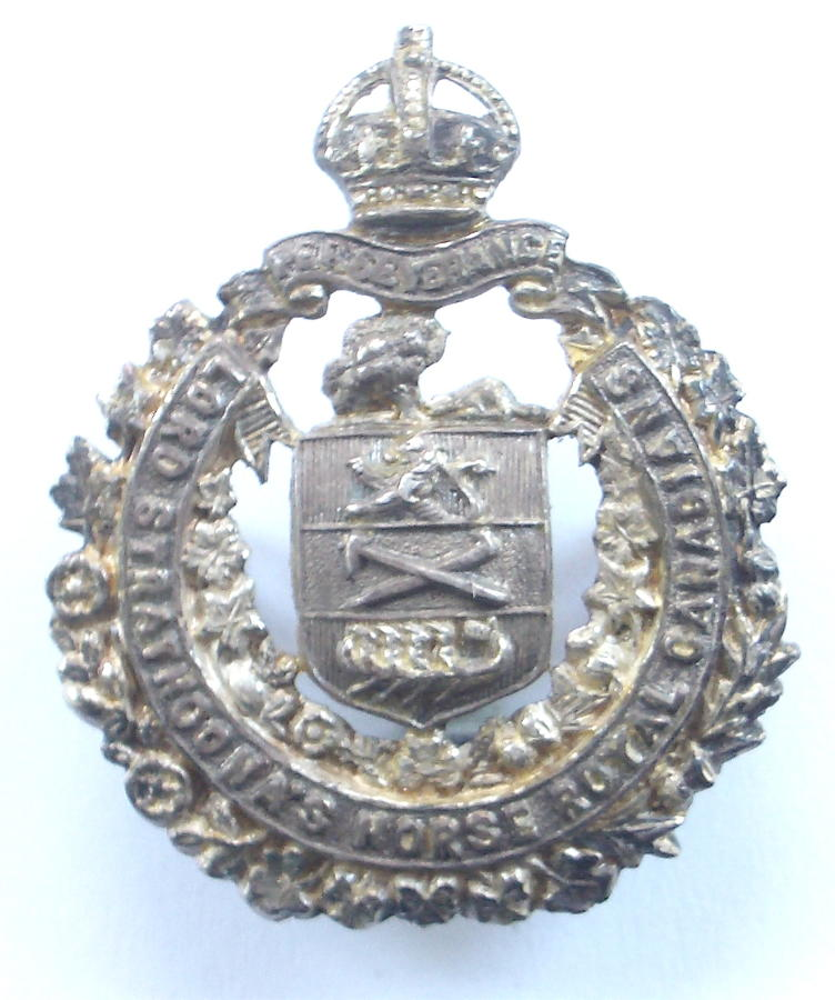 Canadian Lord Strathcona Horse hallmarked silver badge
