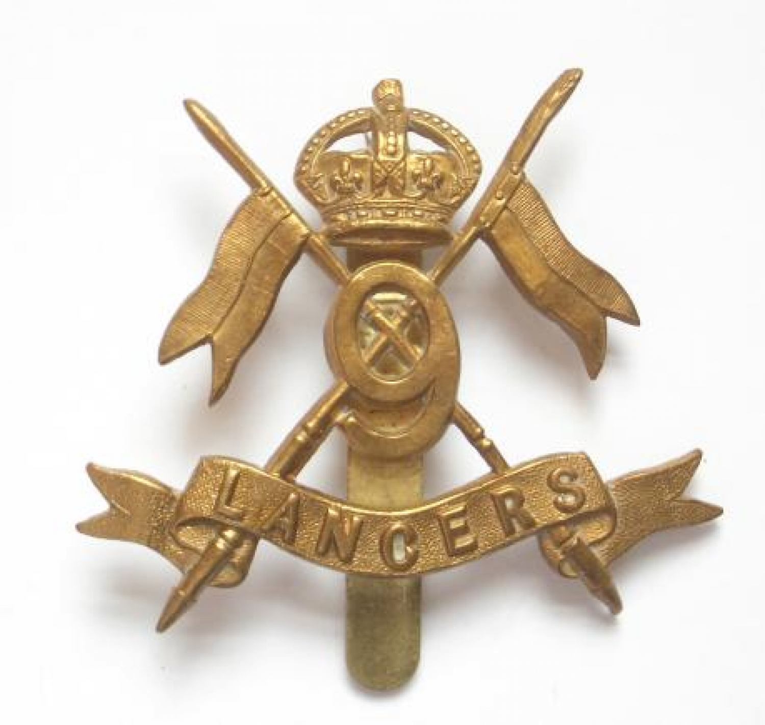 9th Queen's Lancers WW1 1916 brass economy badge