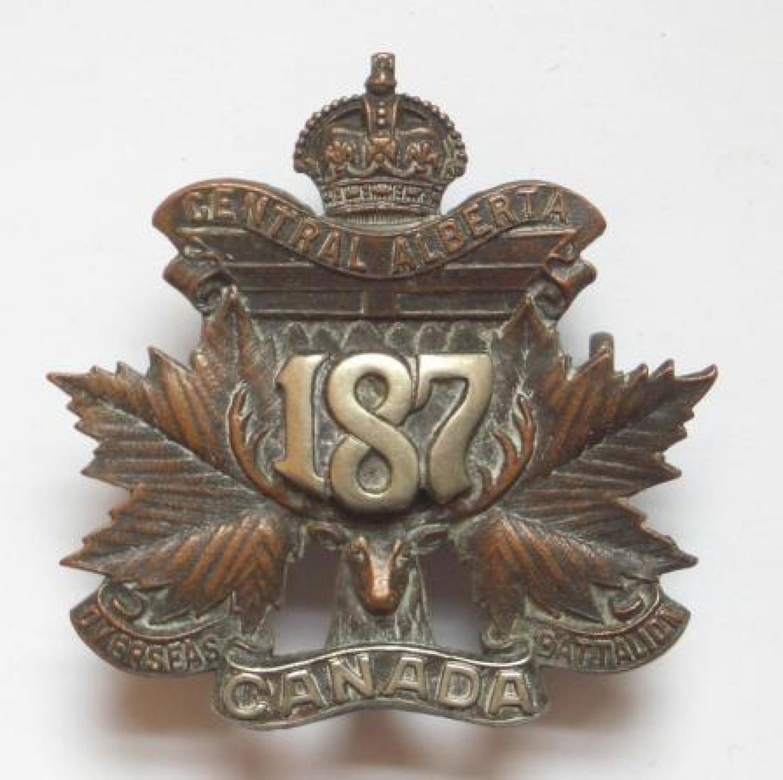 187th (Central Alberta) Bn CEF Officer badge