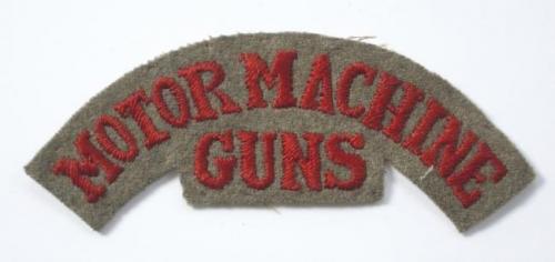 MOTOR MACHINE / GUNS rare WW1 cloth title