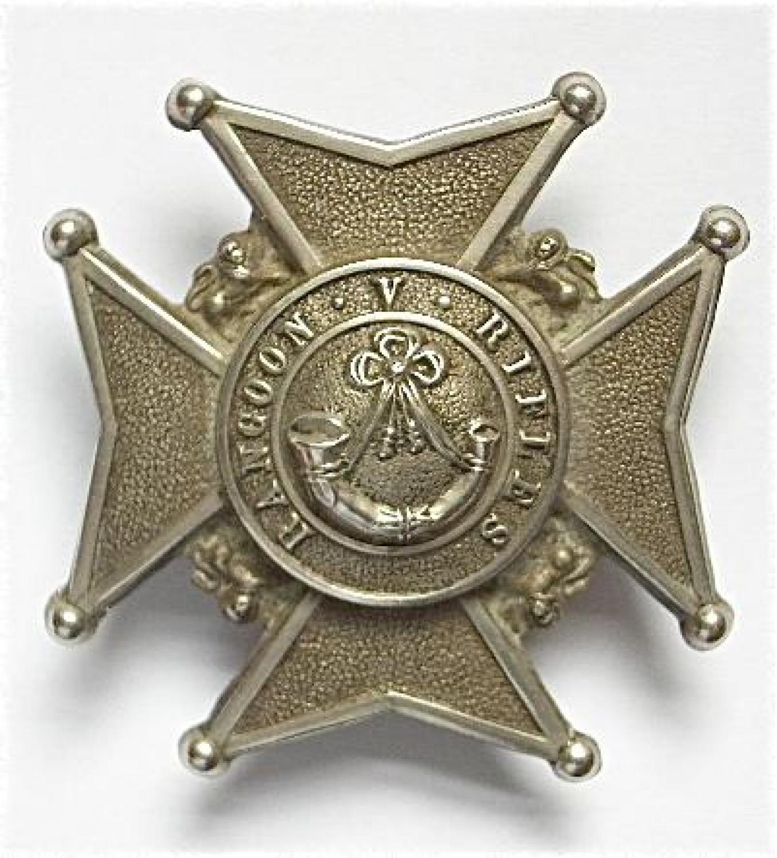 Burma. Rangoon Volunteer Rifles helmet plate