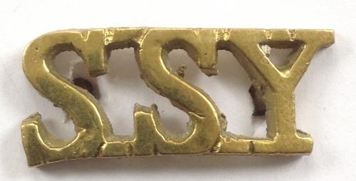 SSY scarce WW2 cast brass shoulder title