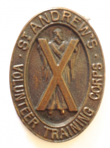 St. Andrews VTC rare WW1 cap badge.