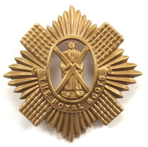 Royal Scots WW1 all brass glengarry badge