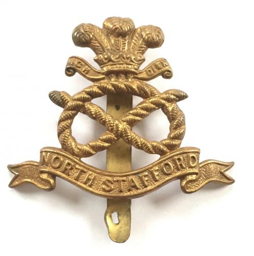North Staffordshire WW1 all brass cap badge