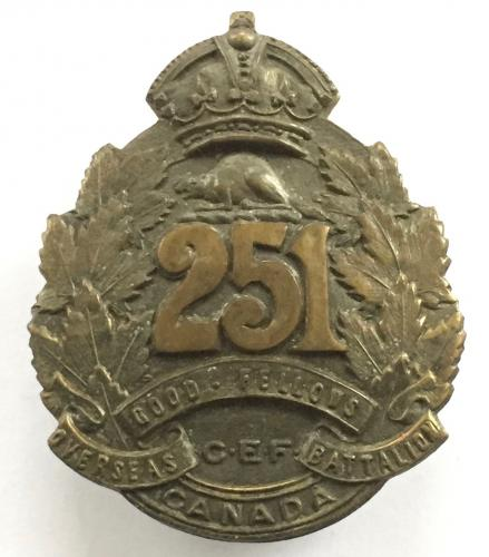 251st Bn CEF scarce cap badge