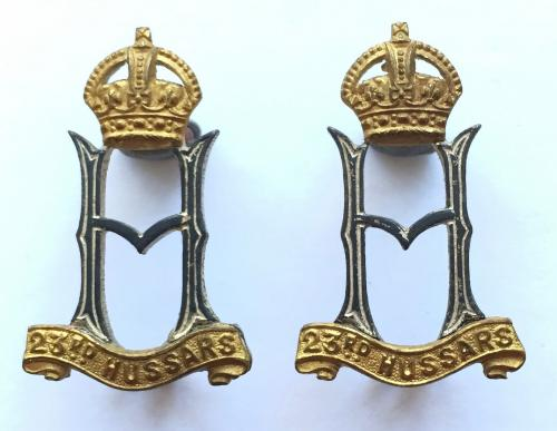 23rd Hussars WW2 Officer's collar badges.