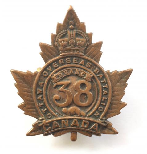 38th Bn. CEF WW1 bronze cap badge