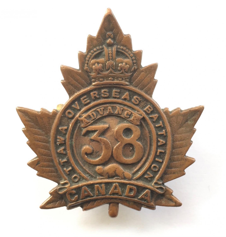 38th Bn. CEF WW1 bronze cap badge