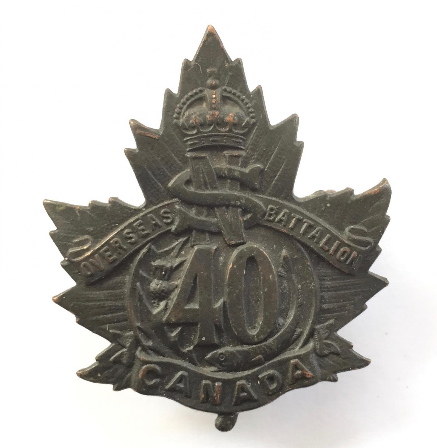 40th Bn CEF WW1 bronze cap badge by Inglis
