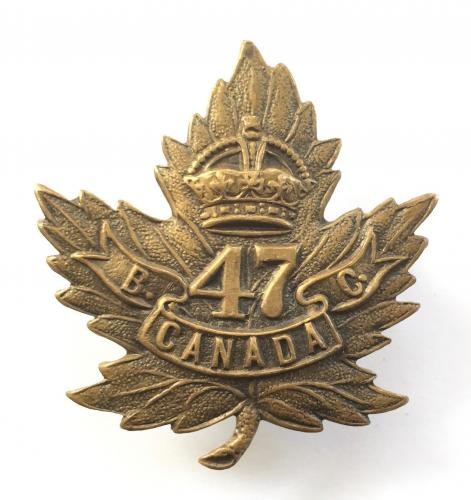 47th Bn CEF WW1 bronze cap badge
