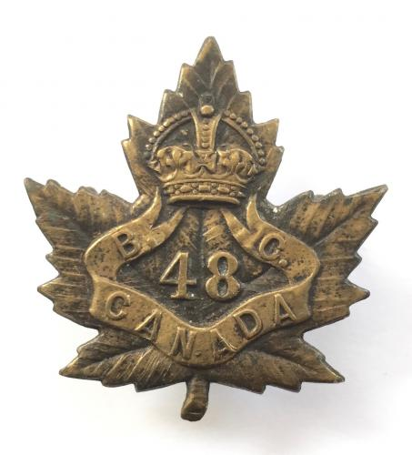 48th Bn CEF WW1 bronze cap badge