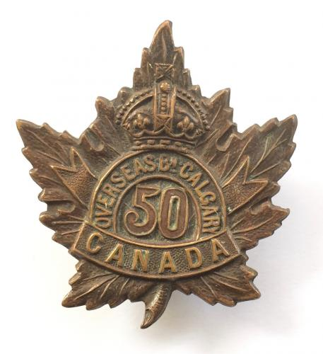 50th Calgary Bn CEF WW1 bronze cap badge