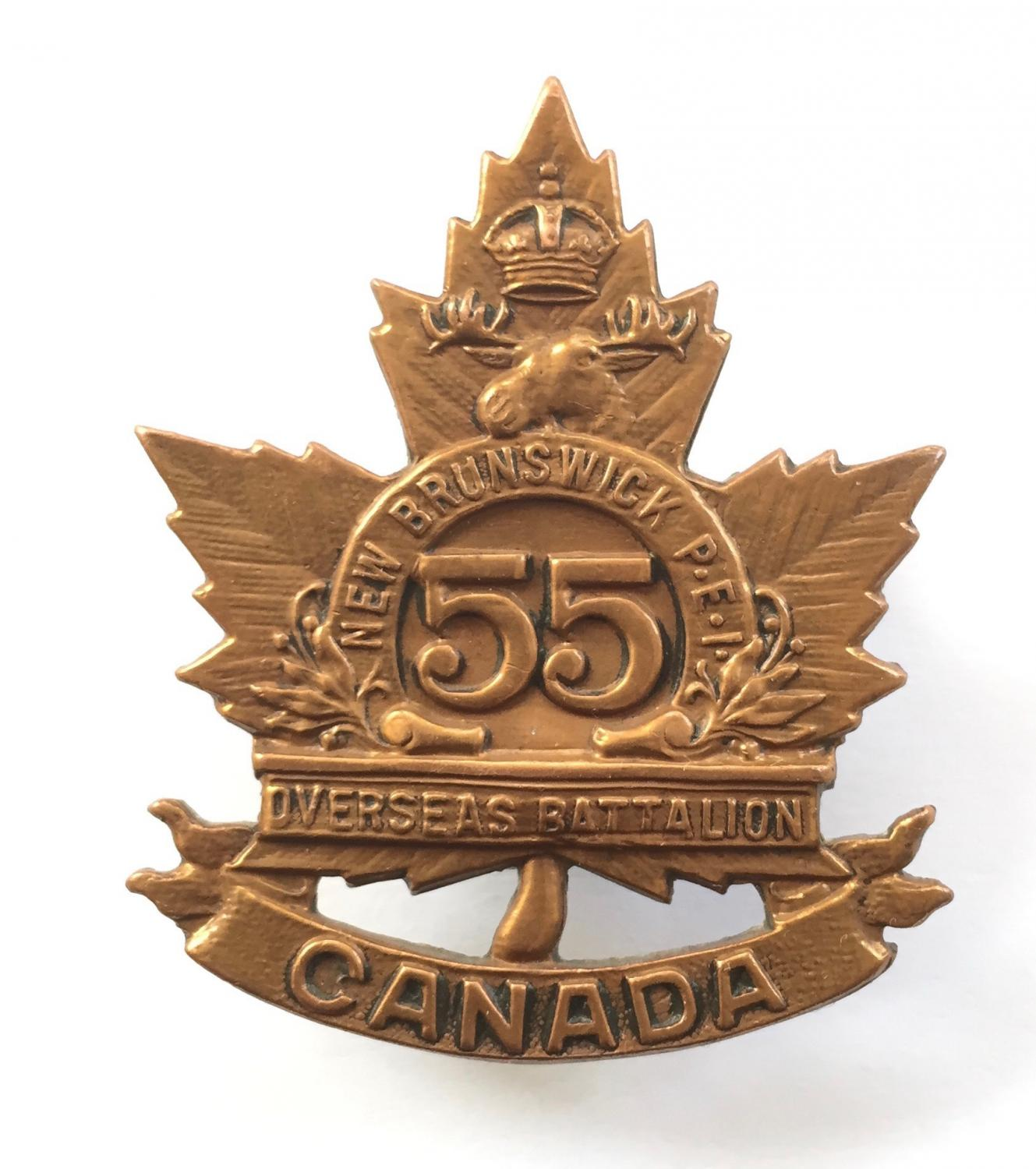 55th Bn CEF WW1 bronze cap badge