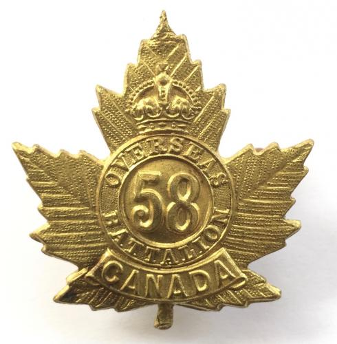 58th Bn CEF WW1 brass cap badge