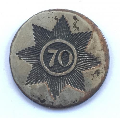 70th Foot coatee button circa 1790-1810