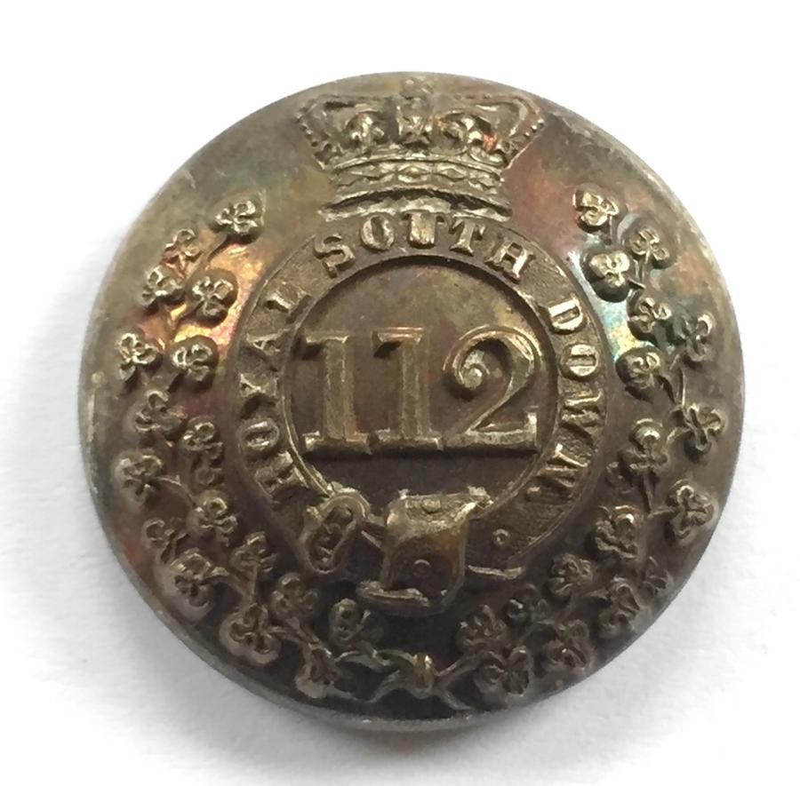 Irish. Royal South Down Militia Victorian silvered coatee button