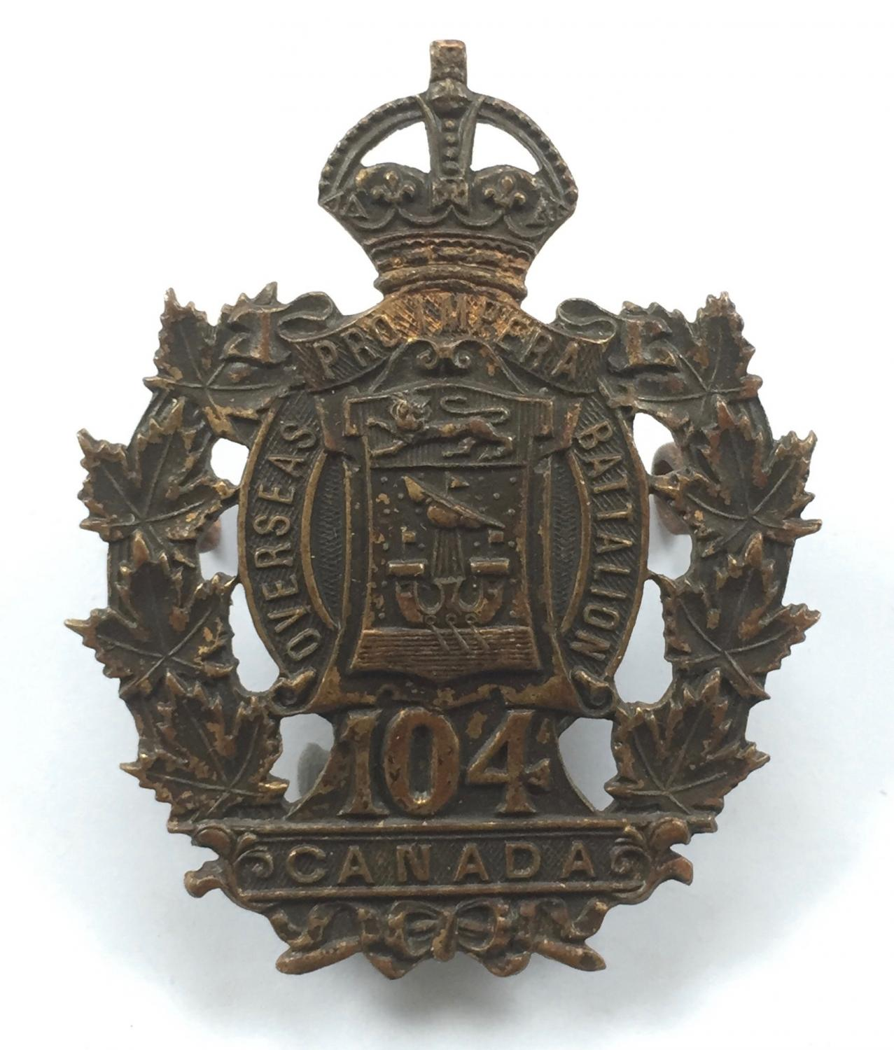 Canadian. 104th (Sussex, New Brunsick) Bn WW1 CEF badge