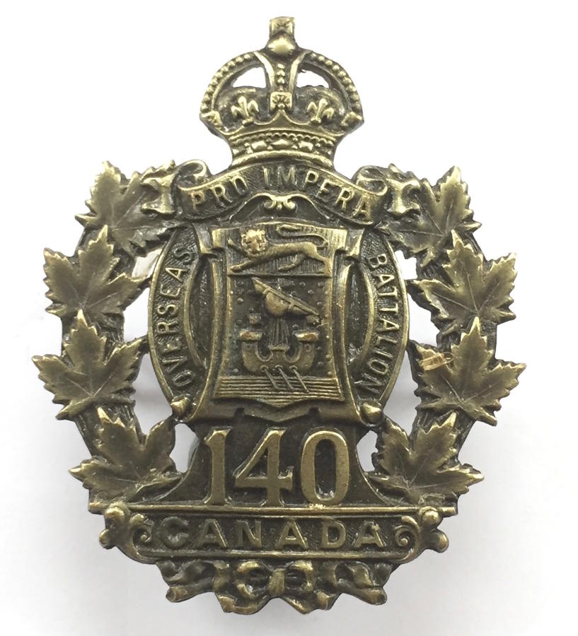 Canadian 140th (St Johns, New Brunswick) CEF cap badge