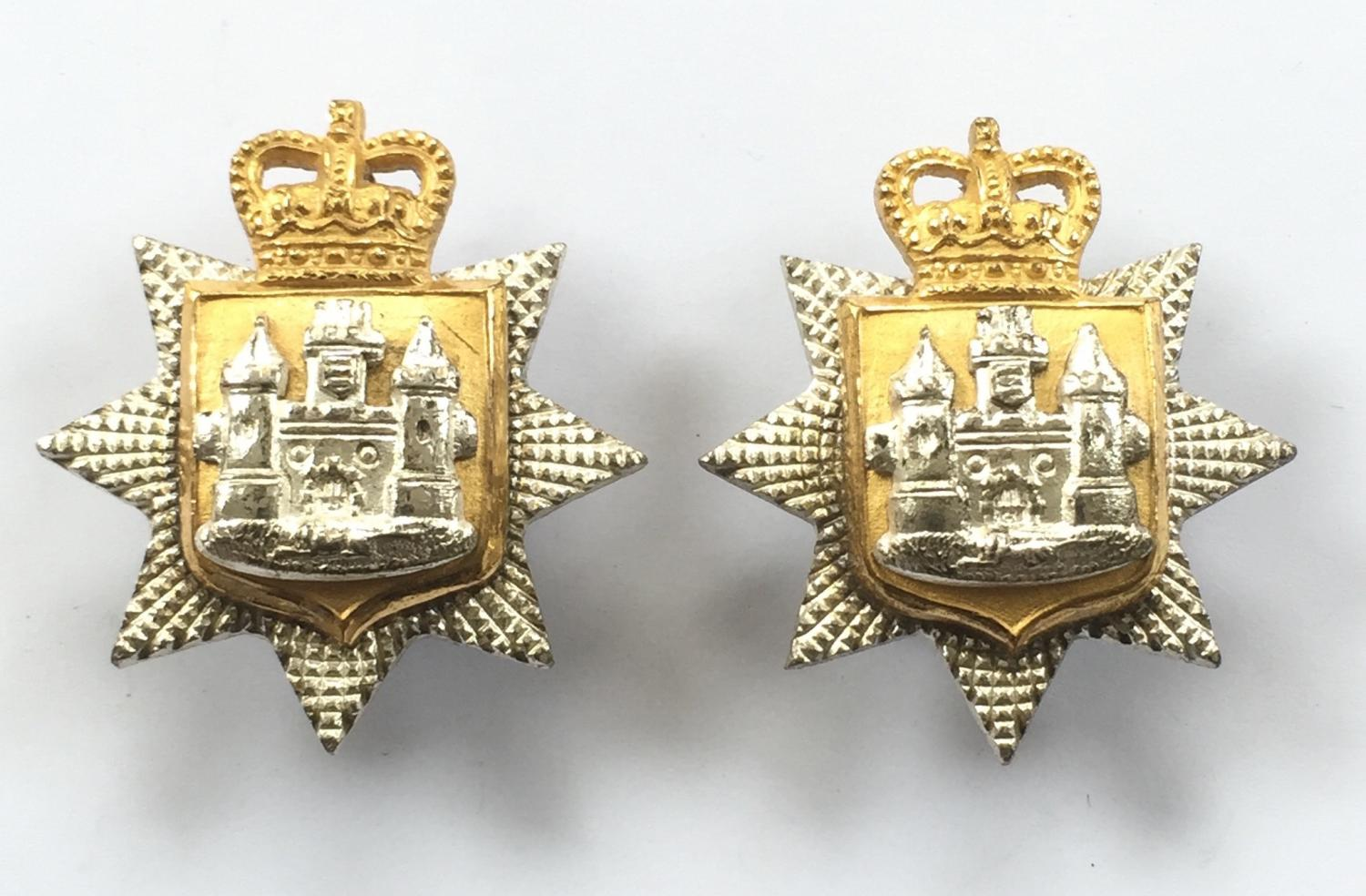 East Surrey Regiment pair of Officer's silvered & gilt collar badges