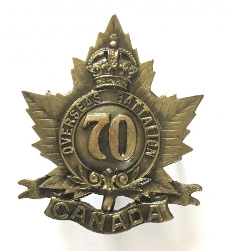70th (London) Bn. CEF pickled cap badge.