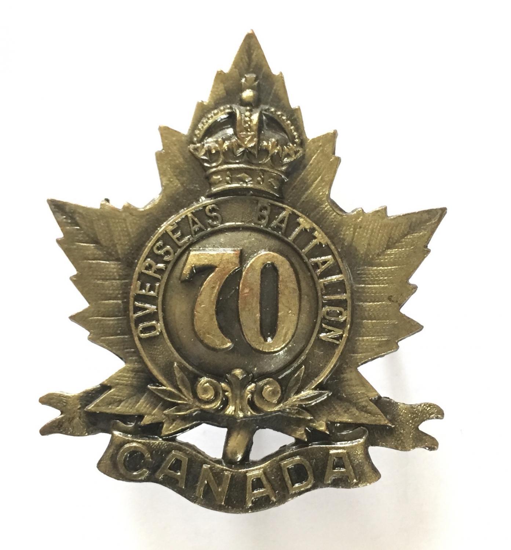 70th (London) Bn. CEF pickled cap badge.