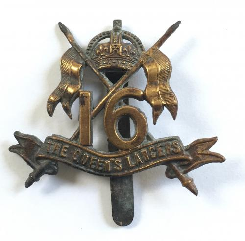 16th Lancers WW1 all brass cap badge.