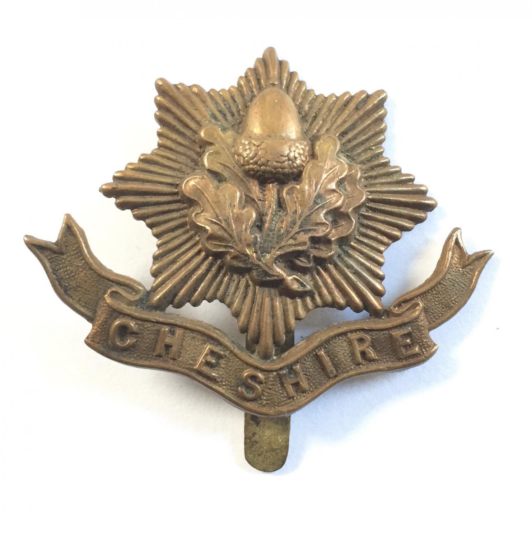 Cheshire WW1 all brass cap badge