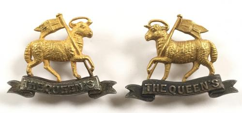 Queen's Regt pair Officer collars