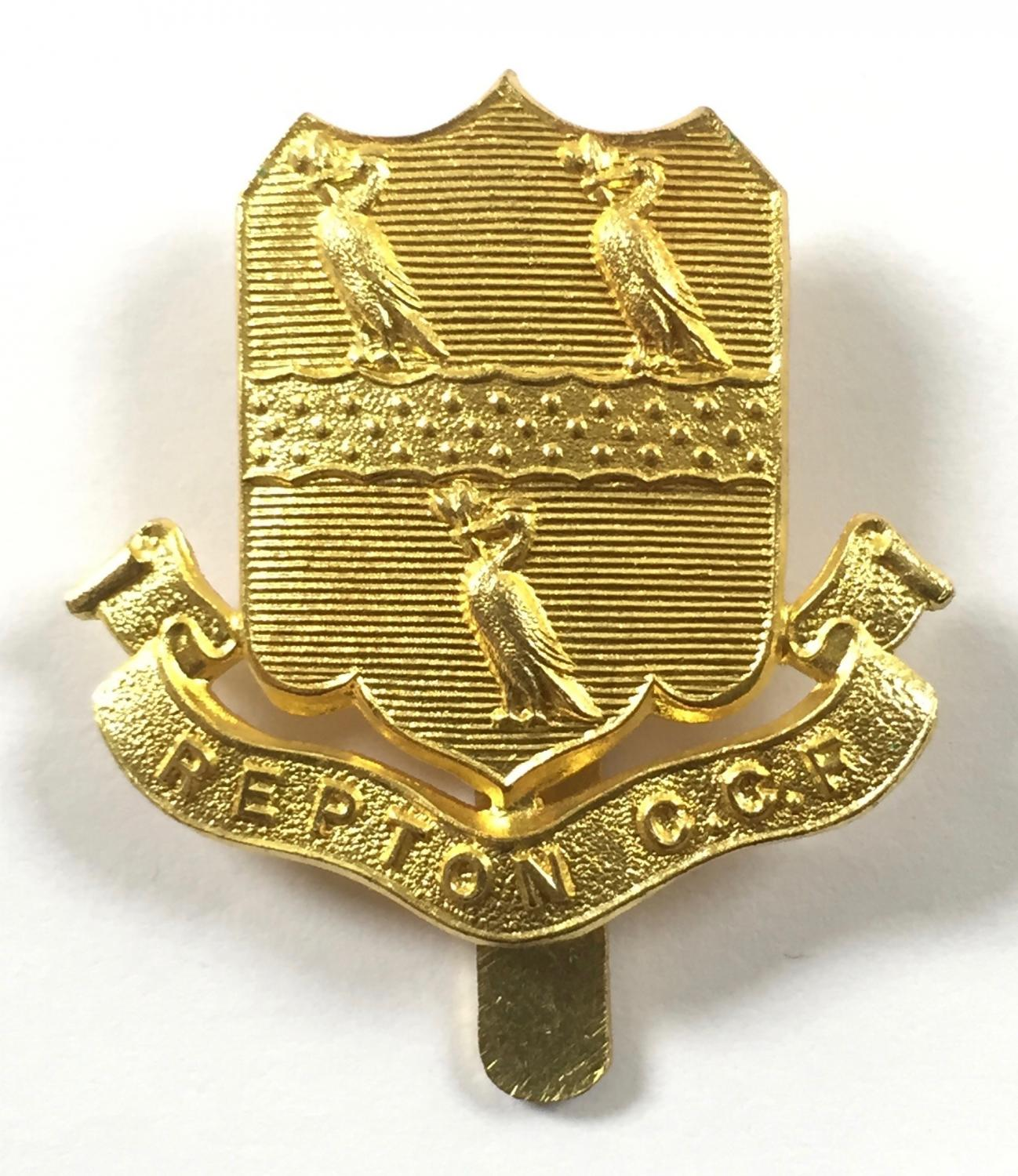 Repton School CCF, Derby brass cap badge by J.R. Gaunt, London