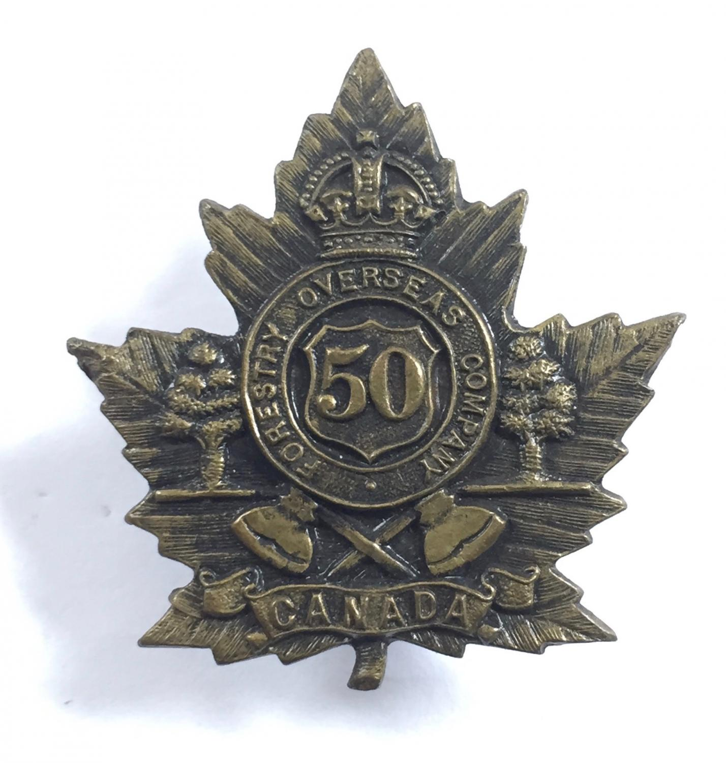 50th Forestry Company WW1 CEF cap badge