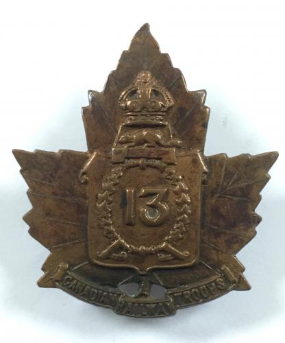 13th Railway Troops WW1 CEF cap badge