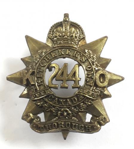 244th Kitchener's Own Bn  WW1 CEF cap badge