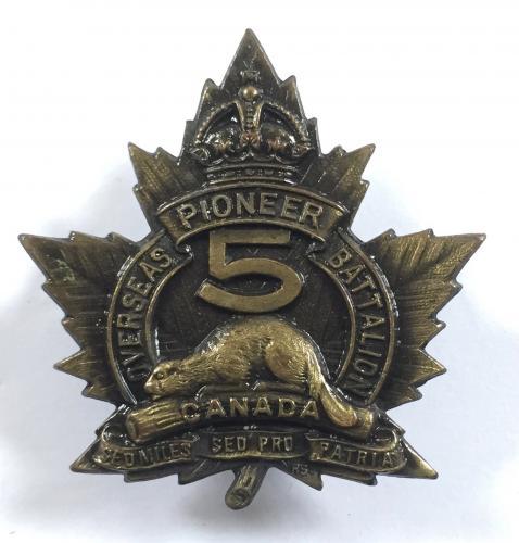 5th Pioneer Bn. WW1 CEF cap badge