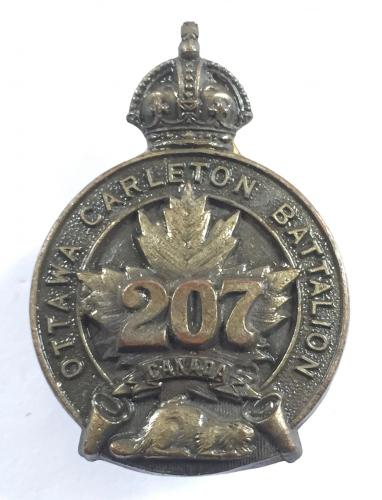 207th Ottawa Carleton Bn WW1 CEF cap badge