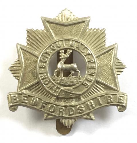 Bedfordshire white metal cap badge